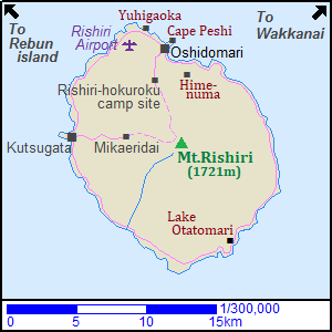 Map of tourist attractions in Rishiri Island