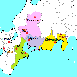 Tokai area map