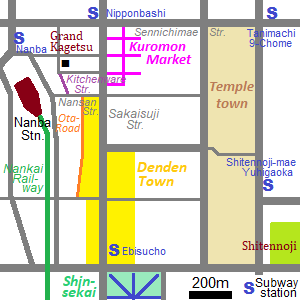 Map of Nipponbashi area in Osaka