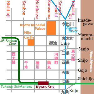 Map of main streets in Kyoto city