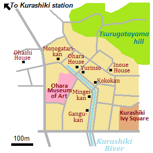 Map of Kurashiki Bikan historical quarter