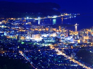 Night view of central Otaru from Mt.Tengu