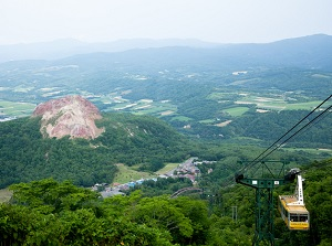 Showa-shinzan from the observatory on Mt.Usu
