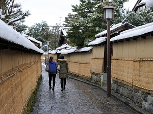 Alley with earthen walls in winter