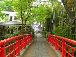 A bridge on Chikurin-no-Komichi in Shuzenji onsen town