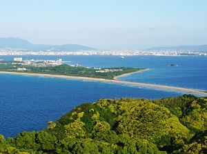 View of Umi no Nakamichi and Fukuoka city from Shikanoshima